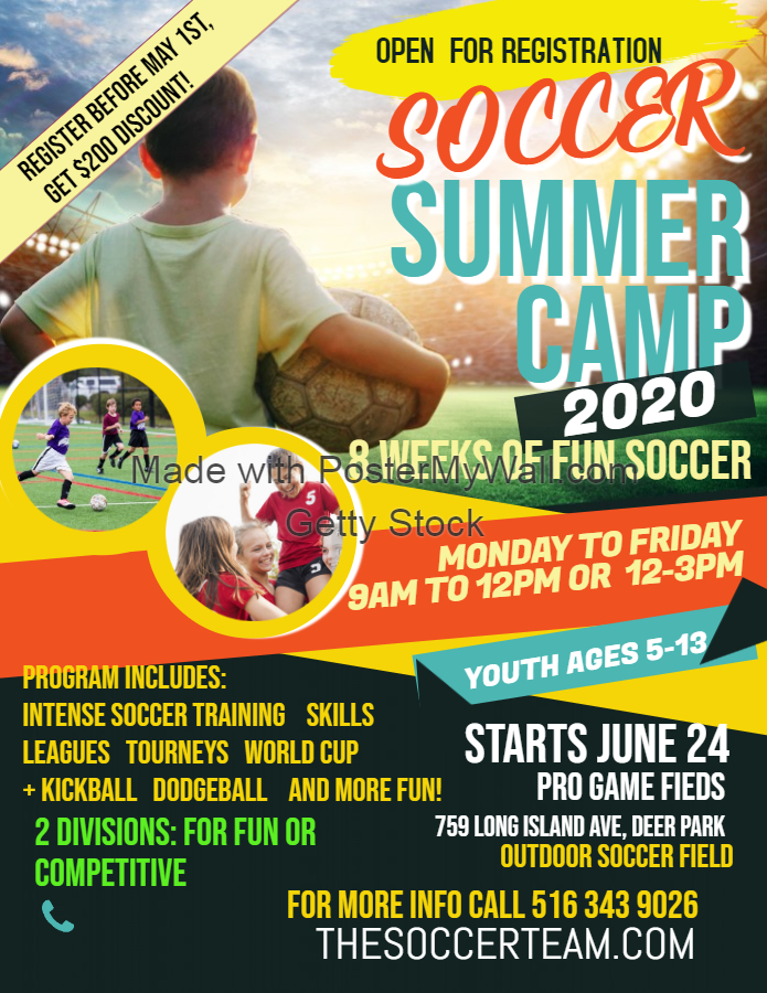 Copy of Soccer Camp Flyer Poster Template - Made with PosterMyWall