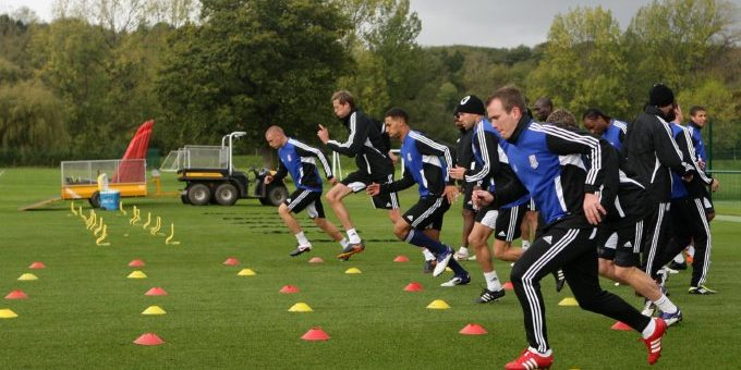 A general view of Stoke City's players during a training session at Clayton Woods Training Ground, Stoke-on-Trent.